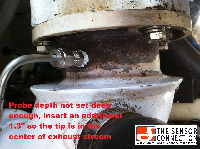 Not inserting the EGT Probe tip completely into the center of the exhaust stream